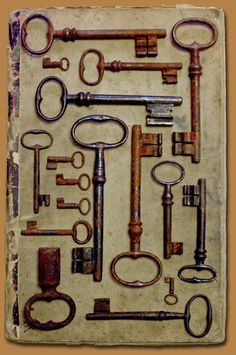 I love old antique keys! So gorgeous to hang or place any where. I put the keys together on a large metal ring and hang them over door knobs. country komfort