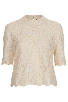 Topshop Cream Lace Embellished Blouse