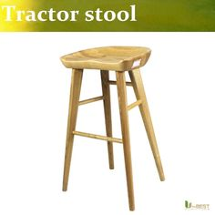 145.00$  Buy here - http://ali9es.shopchina.info/go.php?t=32657842058 - U-BEST  vintage bar stools,Tractor Contemporary Carved Wood Barstool, Natural,Counter Height Stool  #buyininternet