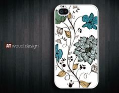 tree blue flower Hard case Rubber case iphone 4 case by Atwoodting, $6.99
