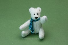 Make Churchill the miniature stuffed polar bear for a dolls house scene or miniature bear collection. This little felt bear is a good first tiny teddy project at just 2.5 inches tall.