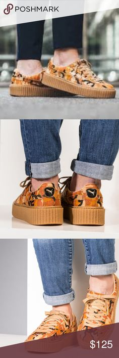 """Puma x Fenty Orange Camo Creepers Who doesn't love the Puma x Fenty Creeper Orange Camo? Rihanna's take on camo is a vibrant edition to your closet. Worn gently, size 8.5 Women's includes iconic """"FENTY"""" black box. Don't wait. Priced to sell. Puma x Fenty Shoes"""