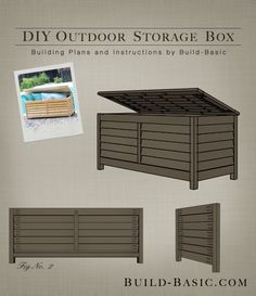 Build a DIY Outdoor Storage Box - Building Plans by Build Basic… - Modern Design Patio Storage, Diy Storage Boxes, Outdoor Storage Boxes, Patio Cushion Storage, Outdoor Box, Outdoor Pavers, Outdoor Benches, Kitchen Storage, Patio Diy