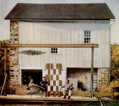 The Bertoia family pictured in front of Harry's famous barn studio.