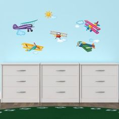 5 Biplanes in the Sky Wall Stickers Wall Decals Uk, Wall Stickers Uk, Removable Wall Stickers, Balloon Wall, Hot Air Balloon, Balloons, Window Film, Baby Shop, New Baby Products