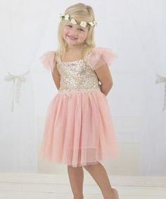 Pink & Gold Sequin Sparkle Dress - Infant, Toddler & Girls $29.99 by Zulily