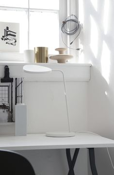 monochrome workspace, Muuto leaf lamp in grey
