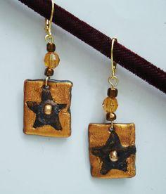 Dangle Pierced Earrings Tones of Copper Brown and Amber in Star Pattern Pierced Earrings, Drop Earrings, Handcrafted Jewelry, Unique Jewelry, Star Jewelry, Star Patterns, Amber, Whimsical, Dangles