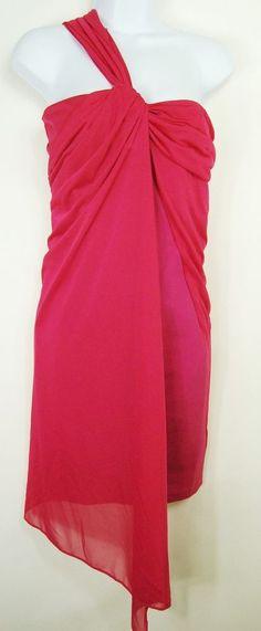 Halston Heritage 10 New Bodycon Cocktail Dress 1-Shoulder Chiffon overlay Pink M #HalstonHeritage #Sheath #Cocktail
