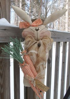 Folk Art PrimiTive SPRING EasTer GruNgy BuNNy RABBIT CarroTs Door GreeTer DOLL #GrungyStained2015 #MelissaHarmon