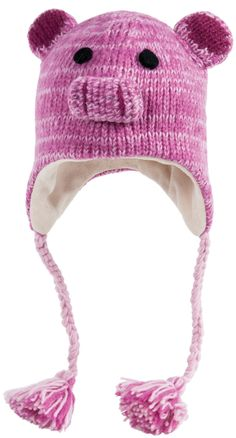 1b8c0153504185 Nirvanna Designs CHPIG2 Pig Hat with Fleece, Pink, Toddler. 100% wool with