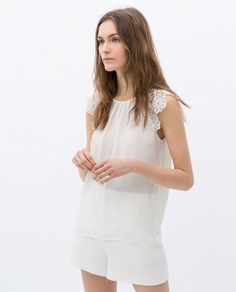 ZARA - WOMAN - TOP WITH GUIPURE SLEEVE