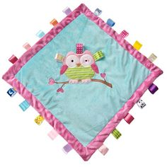Comfort and sooth your little one with this Oodles Owl cozy blanket by Mary Meyer. The blanket is satin lined with a layer of batting, and features 23 taggies ribbons to captivate baby.