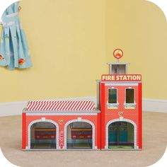Plum Kids Wooden Ingham Fire Station Playhouse - 5036523047654 For Sale, Buy from Toy Workshops & Tools collection at MyDeal for best discounts. Cardboard City, Cardboard Crafts, Wood Crafts, Box Houses, Play Houses, Firefighter Toys, Firefighters, Arcade, Kids Doll House
