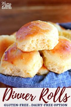Easy Gluten-Free Dinner Rolls that are soft and tasty! The recipe also has a dai… Easy Gluten-Free Dinner Rolls that are soft and tasty! The recipe also has a dairy-free option. Perfect for holidays! Cookies Gluten Free, Dairy Free Snacks, Dairy Free Diet, Gluten Free Desserts, Dairy Free Thanksgiving Recipes, Thanksgiving Casserole, Thanksgiving Vegetables, Thanksgiving Turkey, Dairy Free Kids Meals
