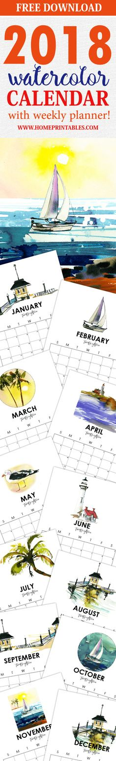 free 2018 calendar in scenic watercolor print