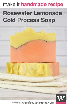 Rosewater Lemonade Cold Process Soap. Learn how to make this yellow and pink cold process soap with this free recipe. We love the smell of this new fragrance!