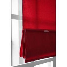 Red Roman Shades - Kitchen