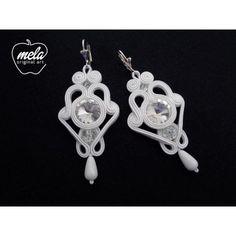 Kolczyki ślubne sutasz AMPERLI - kryształki rivoli - ażurowe -białe - mela