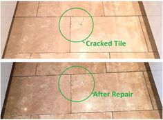 This Travertine tiled kitchen floor had been laid around five years previously in a house in Didsbury and now most of the sealer had worn down making the floor difficult to clean effectively. This resulted in the tiles looking continually dirty and a few of the tiles had cracked which you can see in the photograph below.