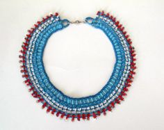 Blue,White,Red-Beaded Necklace-Crochet Necklace-Emek Pinari