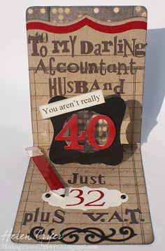 Helen Cryer's clever birthday card using Sizzix Pop 'n Cuts Label die. The Dining Room Drawers: 40th Birthday Card for my Husband