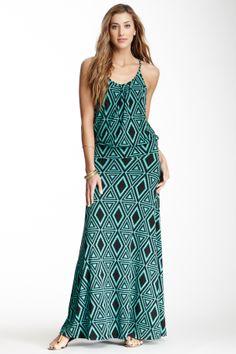 Veronica M Printed Racerback Maxi Dress