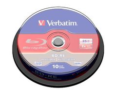 Verbatim 43694 25 GB 2x Blu-ray Single Layer ReWritable Disc BD-RE, 10-Disc Spindle by Verbatim. $44.99. For those looking for the performance and stability of Blu-Ray Recordable media, but who want the flexibility to add to or overwrite their video, music or data, Blu-Ray Re-Writable discs are the solution. Designed to store large HD video and audio files, BD-RE discs can handle up to 1080p resolution videos and multiple audio formats. All Verbatim BD-RE media featur...