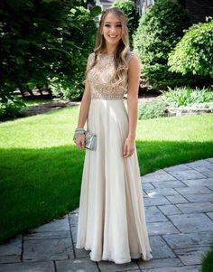 Champagne round neck A-line chiffon long prom dress. evening dress, champagne formal dress 2017
