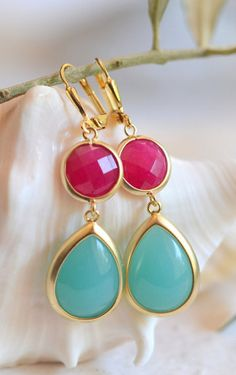 Statement Jewel Dangle Earrings with Turquoise Teal