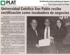 Universidad Católica San Pablo: Certificación como incubadora de negocios en el diario Del País de Perú (10/06/15)