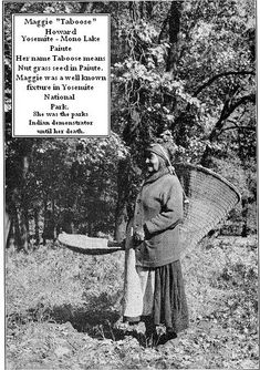 Yosemite Native history - Maggie Taboose in Yosemite with baskets by Yosemite Native American, via Flickr