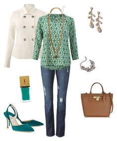 """""""A Little Jade with the Charlie Jacket"""" by vonda-roberts-norman on Polyvore featuring CAbi, Manolo Blahnik, Michael Kors and Yves Saint Laurent"""