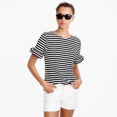 Ruffle-sleeve T-shirt in stripe : tops & blouses | J.Crew