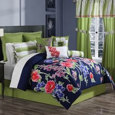 Ellison First Asia Nadia 10 Piece Comforter Set Size: Queen Queen Comforter Sets, Bedding Sets, Mountain Bedroom, Ruffle Bedding, House Beds, Quilt Sets, Bedding Collections, Cheap Home Decor, Duvet Cover Sets