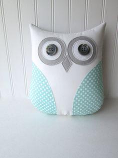 owl pillow, mint owl, decorative owl pillow, pastel polka dot pillow, mint green pillow, mint and gray nursery decor, READY TO SHIP