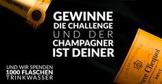 """FAIR GENIESSEN!"""" – unter diesem Motto ruft vinoakvo.de die vinoakvo TRINKWASSER-CHALLENGE 2016 ins Leben. DAS ZIEL:  1000 FLASCHEN TRINKWASSER bis 24.Dezember 2016 – 12.00 Uhr zu sammeln. DER GEWINN:  Eine Flasche Veuve Cliquot Champagner (0,75l) - mit zwei Stölzle Quatrophil Champagnergläsern im Geschenkset!"""