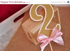 Pink and Gold Birthday Party Decorarations - Glitter Number Cake Topper - Free Shipping by courtneyorillion on Etsy