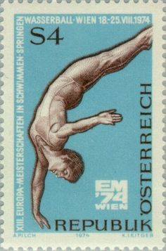 Stamp: High diving (Austria) (European Championship Swimming) Mi:AT 1461,Sn:AT 999,Yt:AT 1290,AFA:AT 1360,ANK:AT 1484