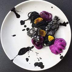 | Black Ink Spaghetti With Black Ink Tapioca Chips And Red Cabbage Cured Idako | By @royalebrat