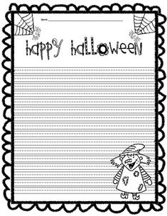 Halloween Writing PaperLet them get out all of their Halloween jitters!Cute writing paper with graphics to color! Kindergarten Writing, Teaching Writing, Writing Activities, Literacy, Cute Writing, Opinion Writing, Writing Ideas, Lined Writing Paper, Writing Papers