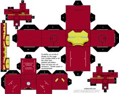 Paper foldables - loved this kind of toys growing up Paper Toys Iron Man