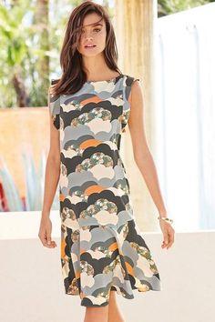 Next Multi Cloud Print Dress - Petite Ezibuy