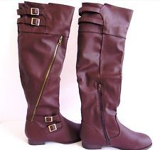 CA Collection Carini Brown Faux Leather Over The Knee Boots ~ AMAZING colour and style, but sadly, not LEATHER!!