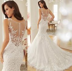 Weddbook ? The generous flare of this wedding gown gives it an old world appeal while the sheer back and sleeveless styling add a trendy touch. This beautiful wedding gown made of lace, chiffon and organza is sure to wow the audience