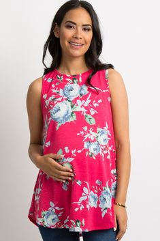 f190fdab2e5506 Fuchsia Floral Sleeveless Maternity Top