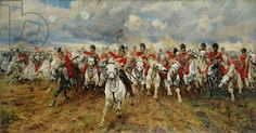 Charge of the Scots Greys at Waterloo. is an 1881 painting depicting the start of the cavalry charge of the Royal Scots Greys who charged alongside the British heavy cavalry at the Battle of Waterloo in 1815 during the Napoleonic wars. Schlacht Von Waterloo, Leeds Art Gallery, Battle Of Waterloo, Waterloo 1815, Historical Art, Military Art, Military History, Military Uniforms, Army Uniform