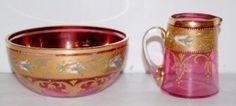 Moser Cranberry Glass Mush Set
