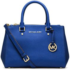 MICHAEL Michael Kors Sutton Small Saffiano Satchel Bag (1.410 VEF) ❤ liked on Polyvore featuring bags, handbags, electric blue, blue purse, satchel purse, circle purse, zipper purse and blue satchel