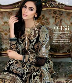 Gul Ahmed Chantilly de Chiffon festive collection CT-138